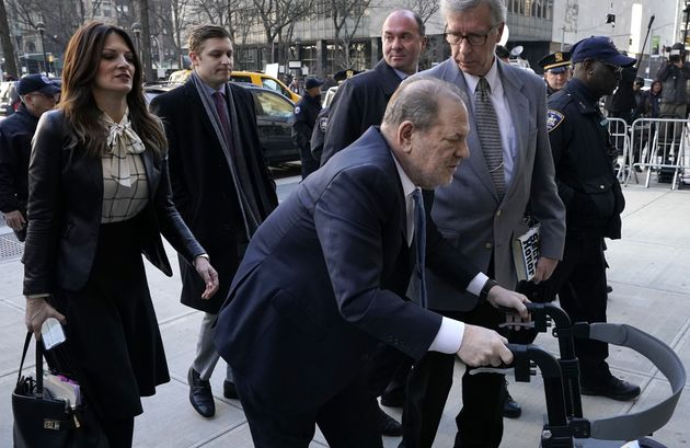Harvey Weinstein arrives at the Manhattan Criminal Court, on Feb. 24, 2020 in New York
