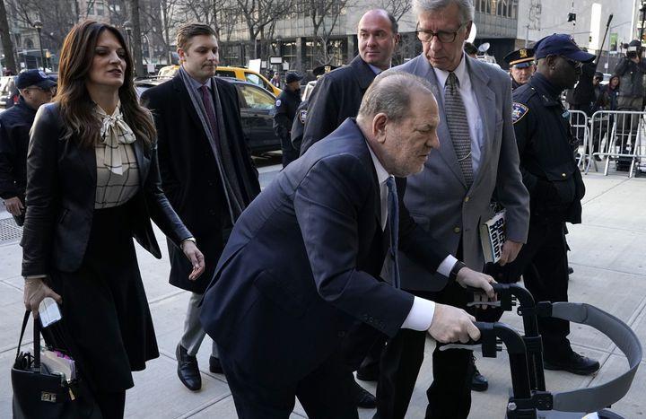 Harvey Weinstein arrives at the Manhattan Criminal Court, on Feb. 24, 2020 in New York City.