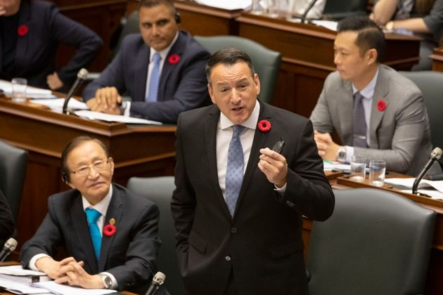 Ontario's Minister of Energy Greg Rickford speaks in the Ontario legislature in Toronto on Oct. 29,