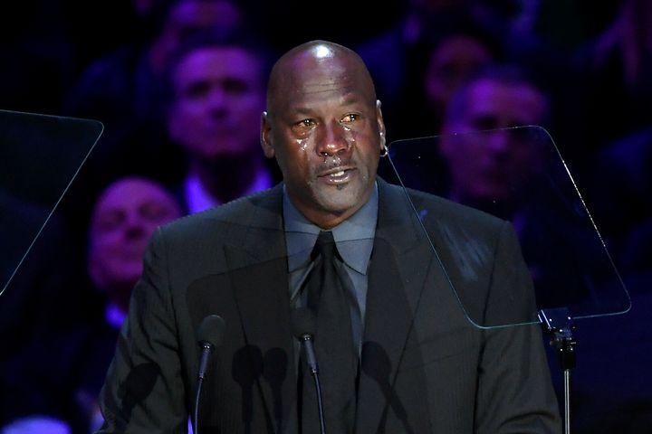 Michael Jordan speaks during the Celebration of Life for Kobe & Gianna Bryant on Monday at the Staples Center in Los Ange