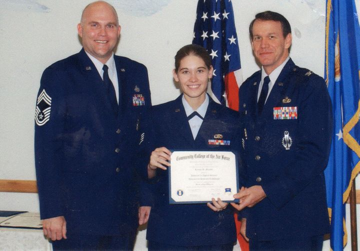 Murphy receives her Associates Degree from the Community College of the Air Force (2002). The first in a list of degrees.