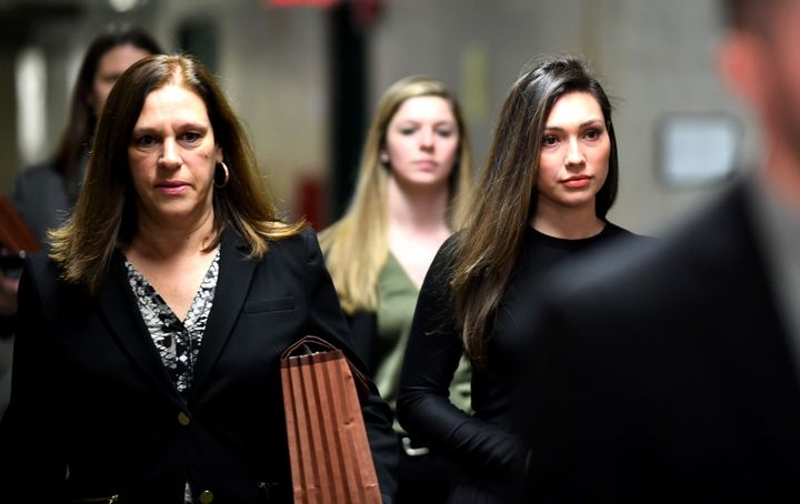 Former actor Jessica Mann, right, arrives for the trial of Harvey Weinstein at the Manhattan Criminal Court on Jan. 31.