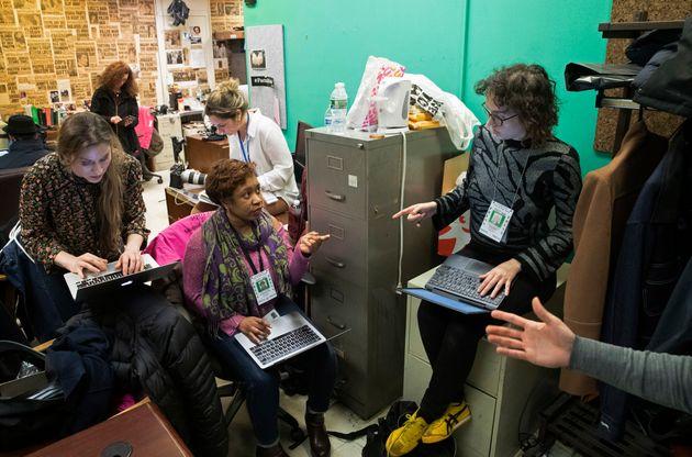 New York Post reporter Rebecca Rosenberg, left, New York Times reporter Jan Ransom, second from left,...