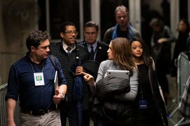 Variety reporter Elizabeth Wagmeister, right, and ABC news reporter Chris Franscescani leave the courtroom...