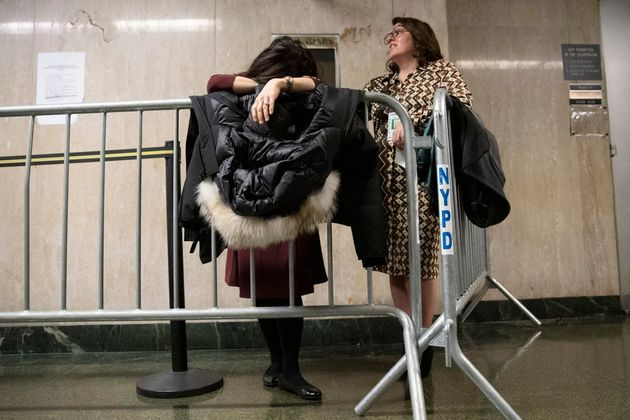 NBC News field producer Sumiko Moots, left, and CBS Network News producer Cassandra Gauthier wait in...