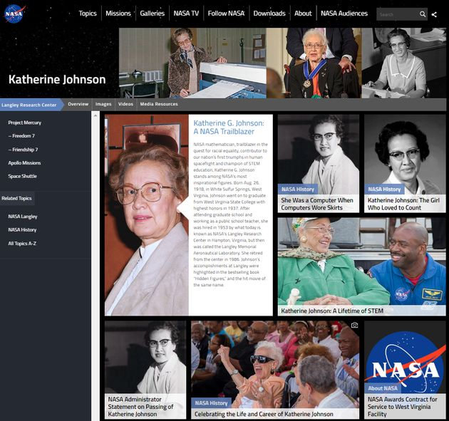 NASA의 캐서린 존슨 관련