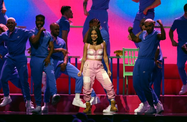 Mabel performing at the Brit Awards last