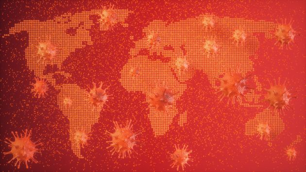 Virus Abstract with World Map