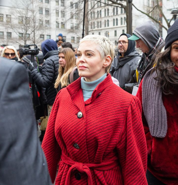 Rose McGowan pictured last month, on the opening day of Weinstein's trial