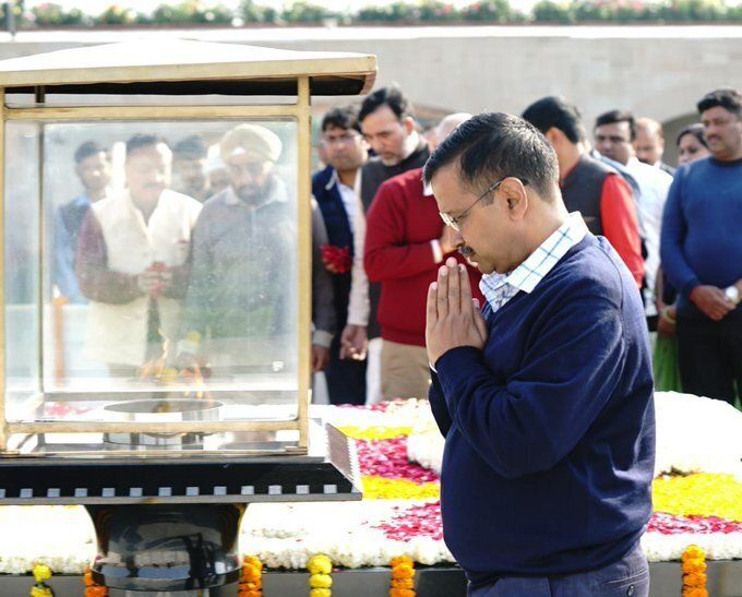 Chief Minister Arvind Kejriwal at Rajghat on Tuesday.