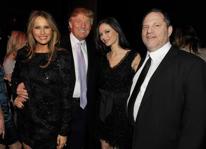 From left: Melania Trump, Donald Trump, Georgina Chapman and Harvey Weinstein attend the after-party of the New York premiere