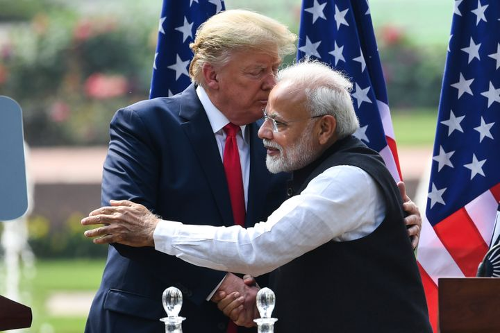 US President Donald Trump shakes hands with Prime Minister Narendra Modi during a joint press conference at Hyderabad House in New Delhi on February 25, 2020.