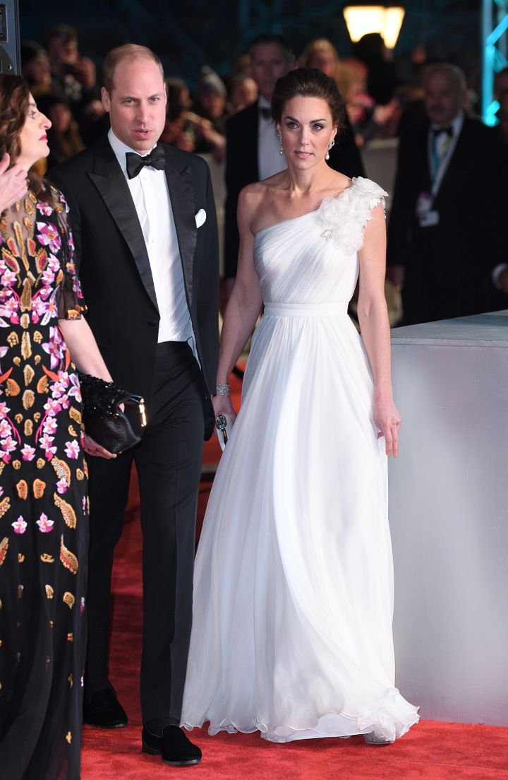 The Duke and Duchess of Cambridge attend the British Academy Film Awards at Royal Albert Hall on Feb. 10, 2019, in London.