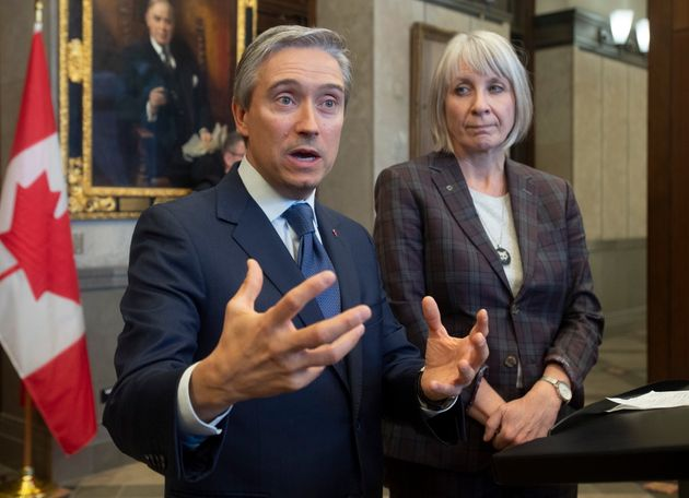 Foreign Affairs Minister Francois-Philippe Champagne and Minister of Health Patty Hajdu on Feb. 19, 2020,...