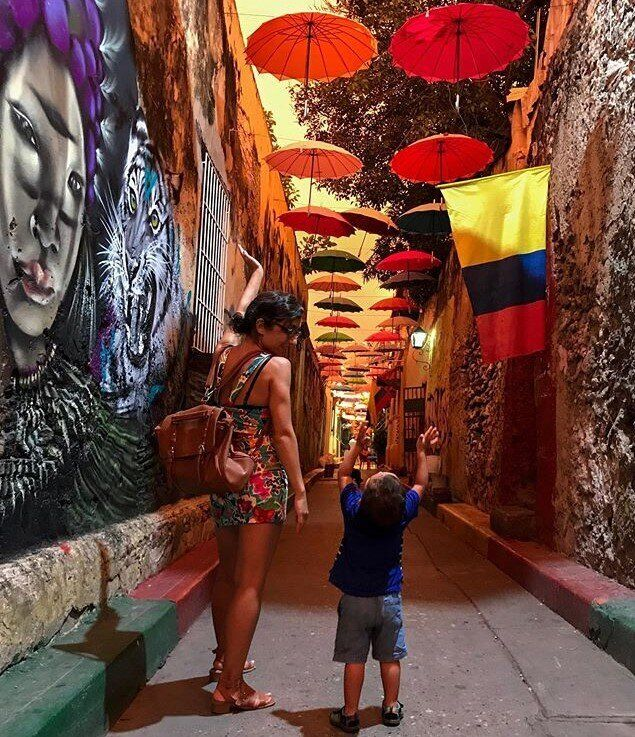 The author and her son in Cartagena, Colombia.