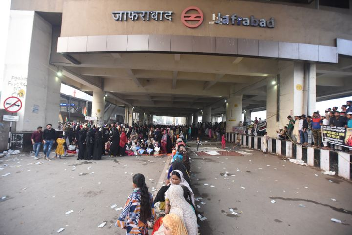 File photo of women during a protest against Citizenship Amendment Act (CAA), National Register of Citizens (NRC) and National Population Register (NPR), near Jaffrabad metro station, in North-east Delhi, on February 23, 2020.