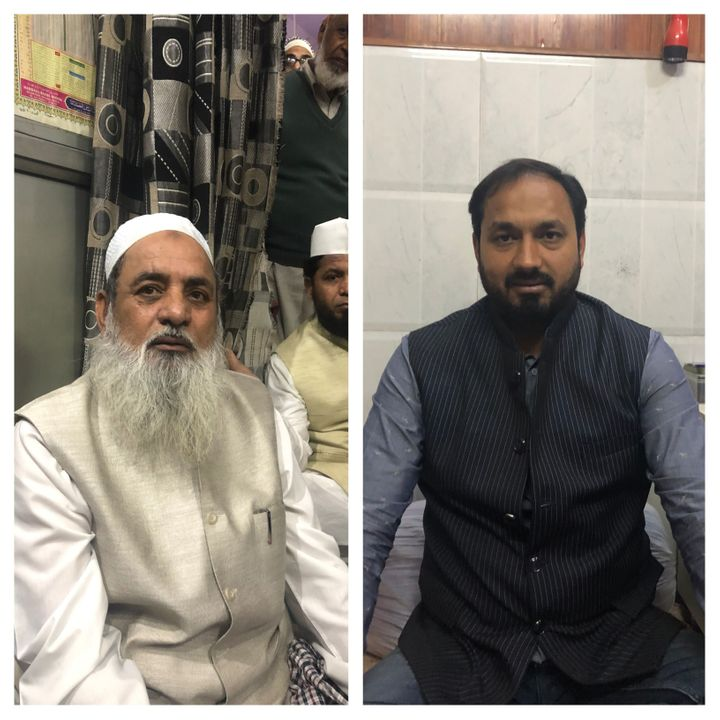 Maulana Mohammad Dawood of Babul Uloom Masjid and Madrasa (left) and local resident Baboo Malik both addressed protestors and sought to convince them to discontinue their protest at Jaffrabad on Tuesday