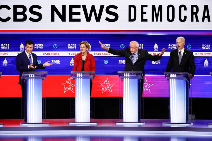 Candidates participate in the Democratic presidential primary debate at the Gaillard Center on Feb. 25, 2020, in Charleston,
