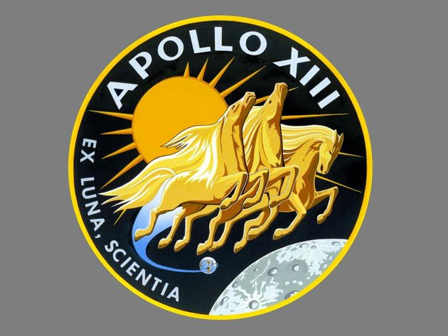 Apollo 13 mission crew patch, NASA handout, graphic element on gray
