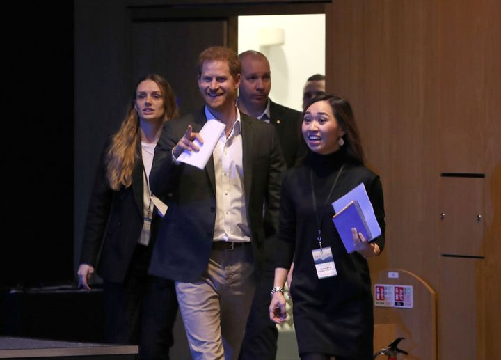 Prince Harry arrives to attend a sustainable tourism summit at the Edinburgh International Conference Centre in Edinburgh on
