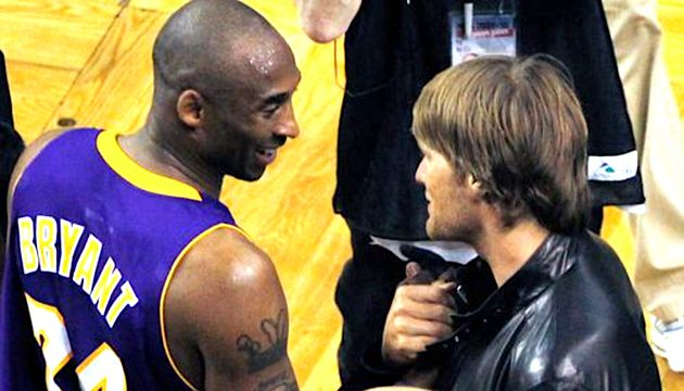 Kobe Bryant and Tom Brady chatted after Game 3 the 2010 NBA Finals between the Los Angeles Lakers and...
