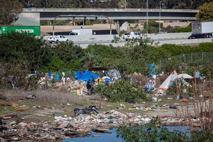 A homeless camp along the Los Angeles River.