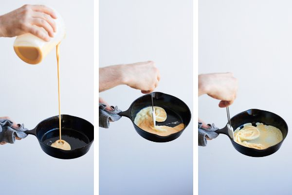 From left to right: The first few steps of scrambling eggs.