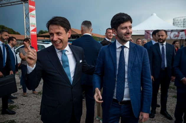 ROME, ITALY - SEPTEMBER 19: Italian Prime Minister Giuseppe Conte and Roberto Speranza take part in a...