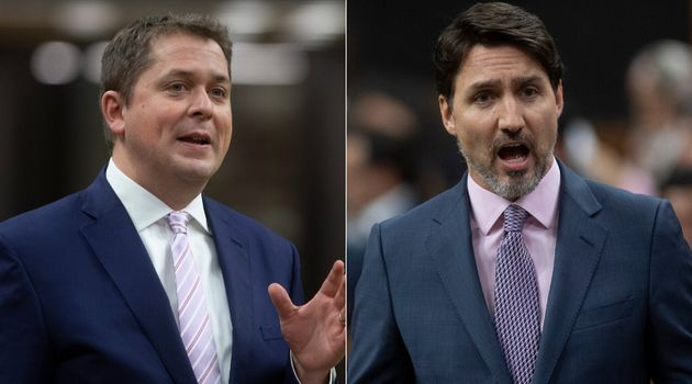 Conservative Leader Andrew Scheer and Prime Minister Justin Trudeau are shown in a composite image on...