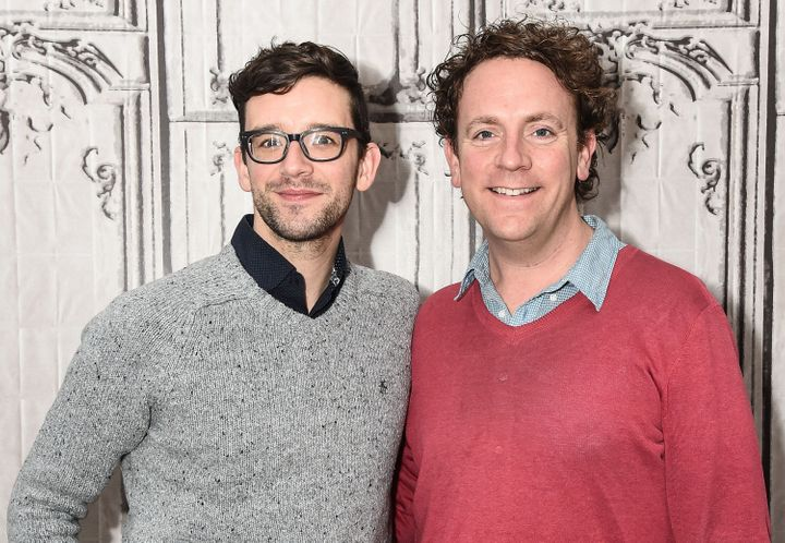 "Droege (right) with longtime collaborator Michael Urie, who co-produced ""Happy Birthday Doug."""