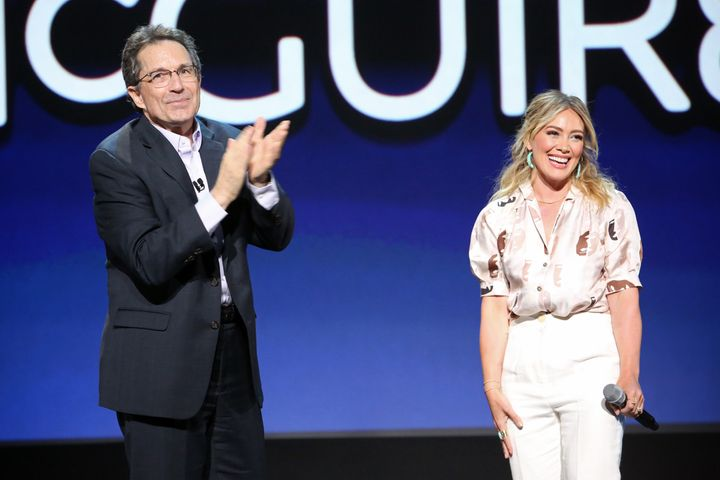 Hilary Duff on stage at the Disney Plus Expo at Disney's D23 Expo in August.