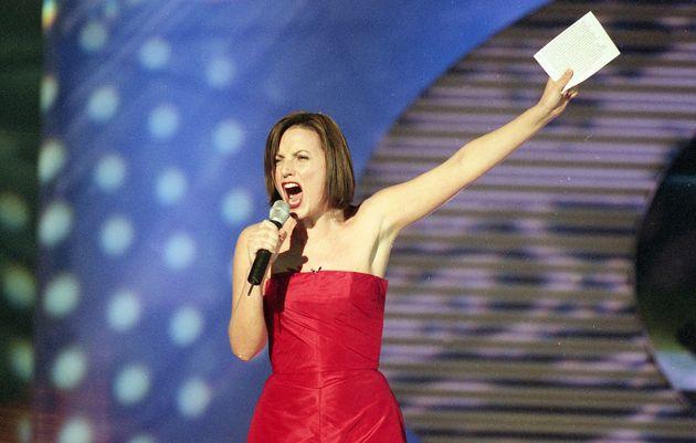 Davina McCall opens the 2000 Brit