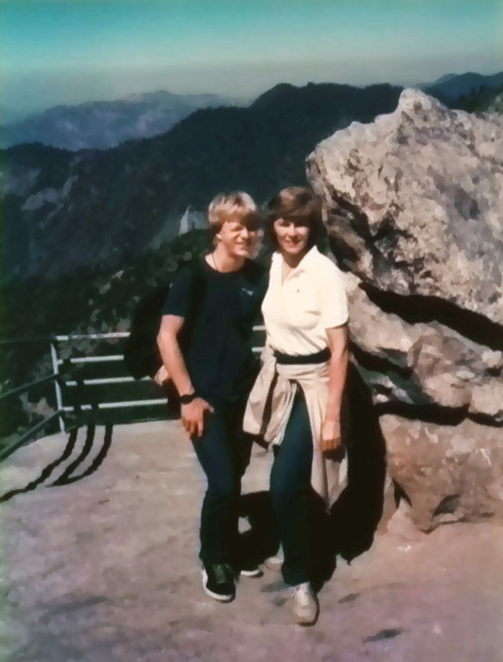 Jason and Judy hiking in the California Redwoods, ca. 1986.