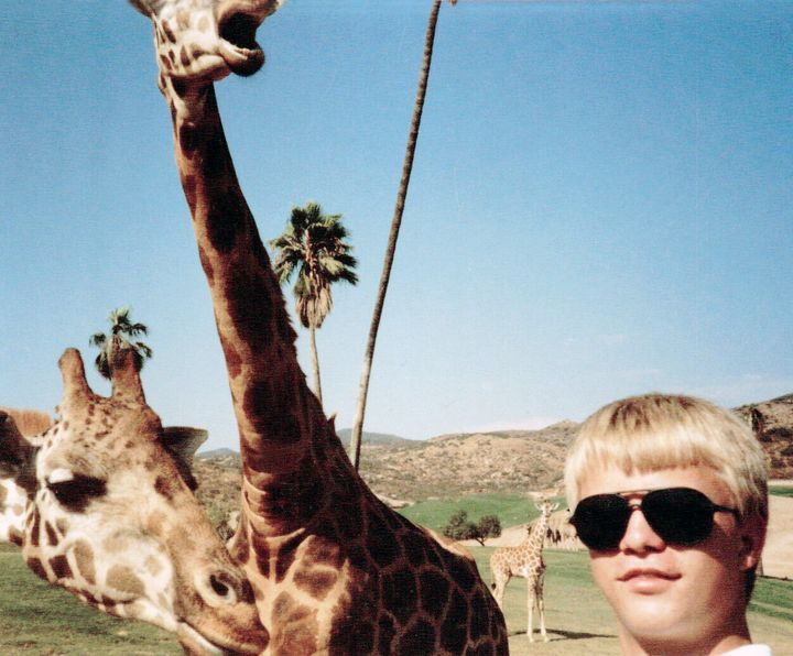Jason and his spirit animals at the San Diego Wild Animal Park, ca. 1985.