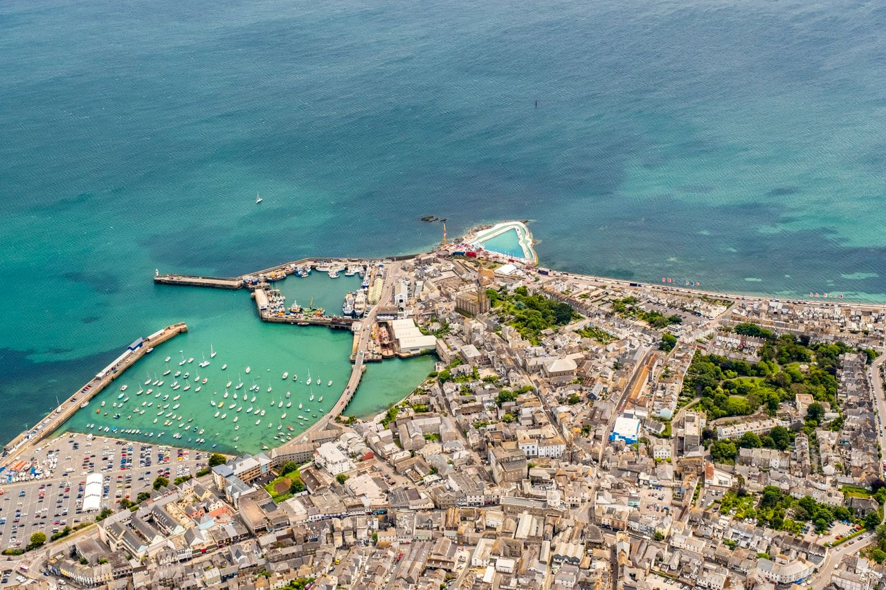 An aerial view of Penzance, Cornwall.