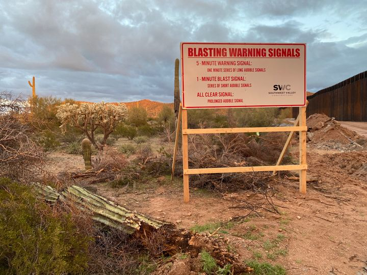 A sign warns of impending detonations at Monument Hill in Organ Pipe Cactus National Monument.