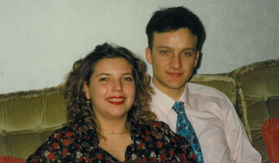 Frederika and Simon in 1992 at his parents' home for his 21st