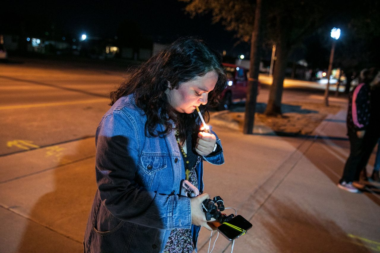 Stephanie Vela Anderson takes a moment after the Big Spring city council passed an ordinance to ban abortion.