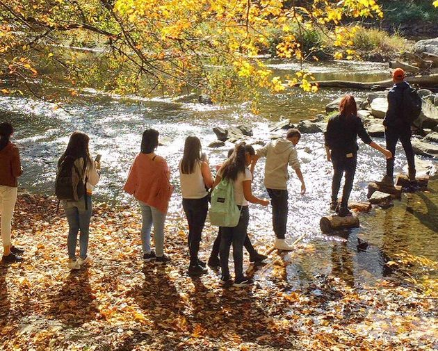 Kids explore the banks of the Delaware River as part of The Sierra Club's Outdoors for All