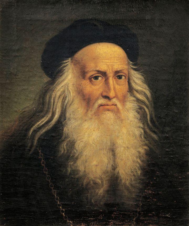 Retrato de Leonardo da Vinci por Lattanzio Querena, do Museo D'Arte Medievale e Moderna.
