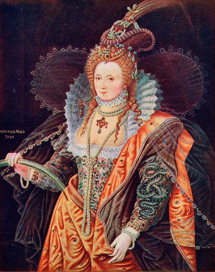 Rainha Elizabeth I. Tela de Zucchero que está na Hatfield House.