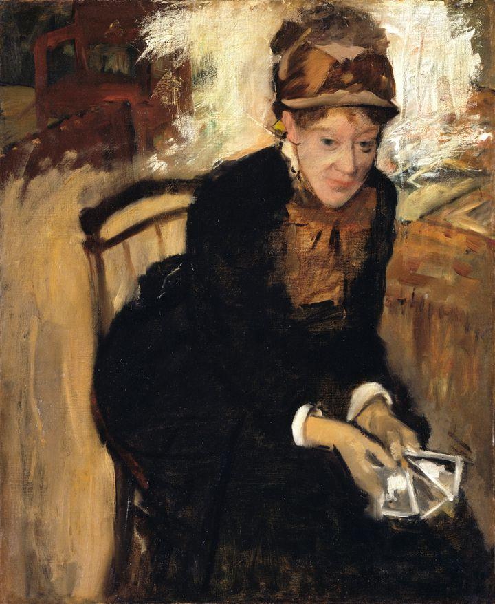 Retrato da pintora Mary Cassat criado por seu amigo Edgar Degas, por volta de 1880-84.