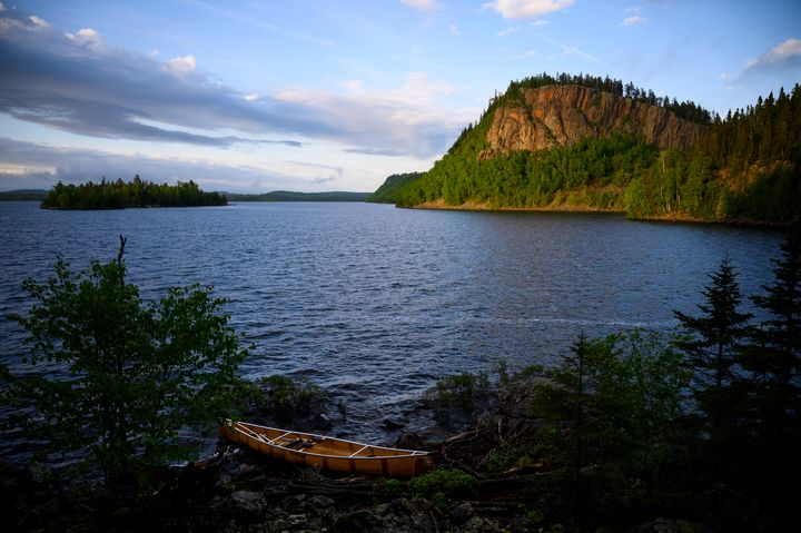 A palisade on South Fowl Lake in the Boundary Waters Canoe Area Wilderness in Minnesota.