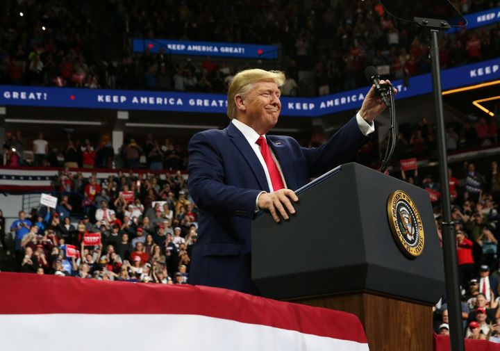 President Donald Trump speaks during a campaign rally in Minneapolis, Minnesota, in October.