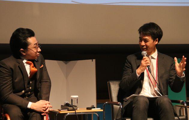 2月19日に開催されたランチセッション。写真左から株式会社ミライロの垣内俊哉さん、一般社団法人RCFの藤沢烈さん