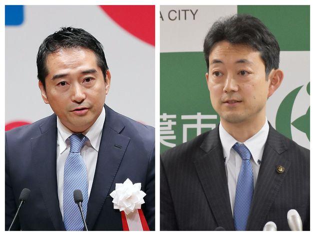 五十嵐立青・つくば市長(左)、熊谷俊人・千葉市長(右)