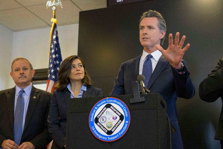 California Gov. Gavin Newsom spoke about the state's response to COVID-19 duringa news conference in Sacramento on Thur