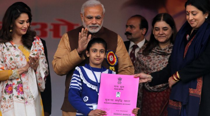 Prime Minister Narendra Modi at launch of Beti Bachao Beti Padhao programme on January 22, 2015 in Panipat, India.