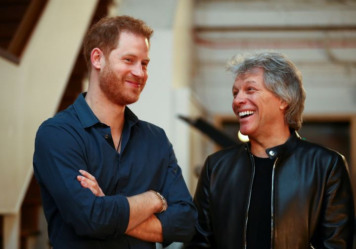 Prince Harry meets Jon Bon Jovi during his visit Abbey Road Studios