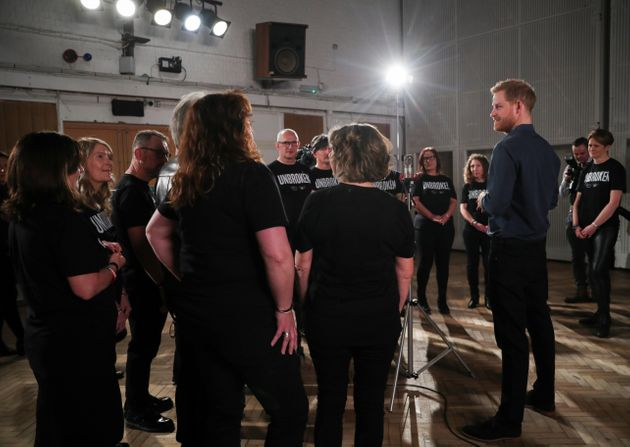 Harry met members of the Invictus Games Choir as they recorded a single for the Invictus Games